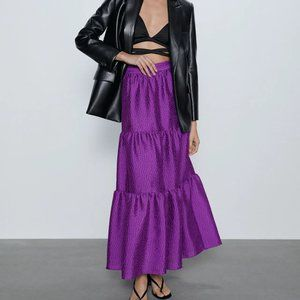 NWT Zara purple voluminous maxi skirt, XS